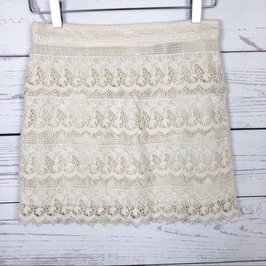 American Eagle Tiered Crochet Lace Skirt Ivory